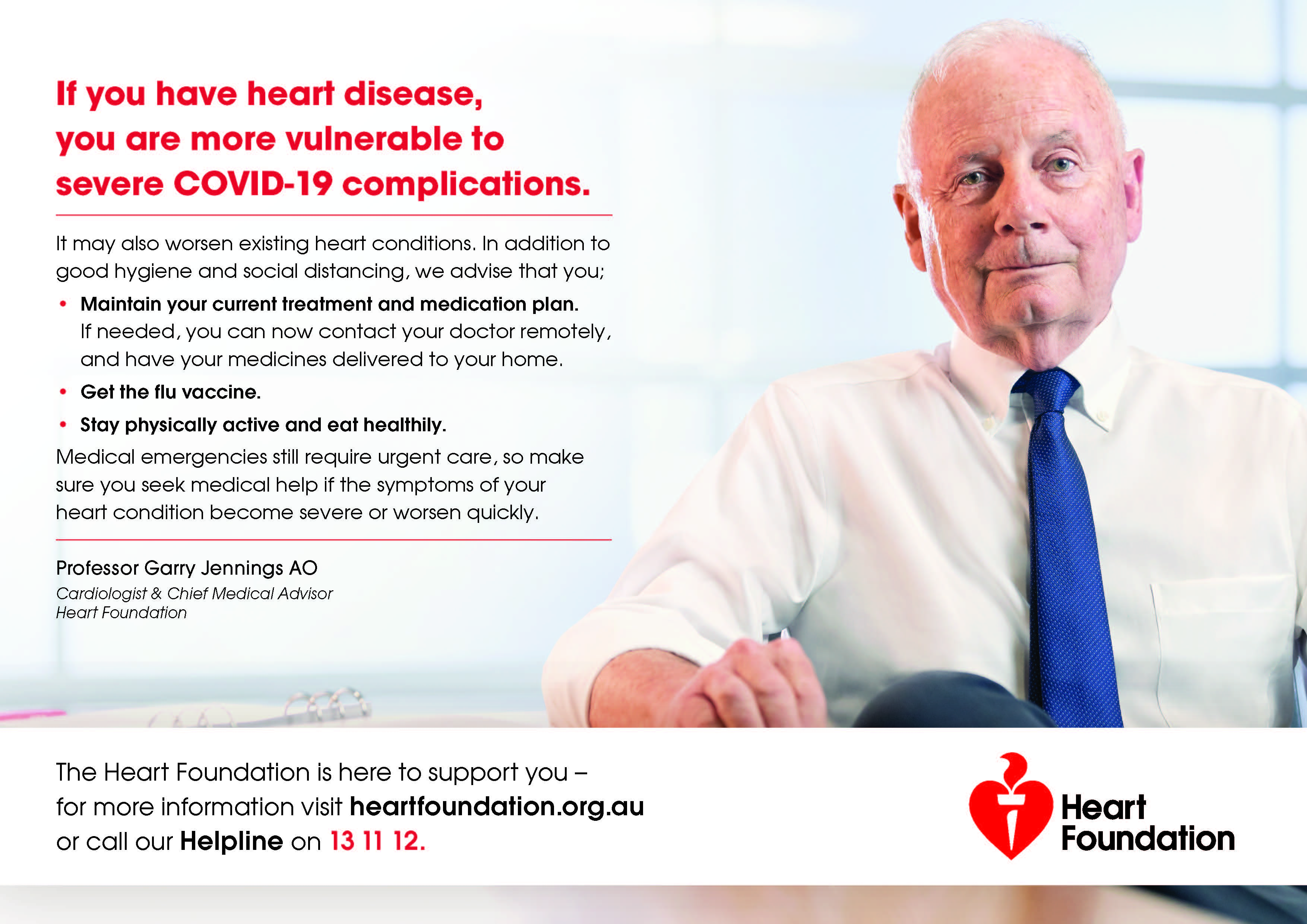 Heart Foundation launches COVID-19 and heart disease support campaign